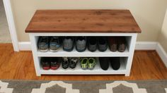 Build this Adjustable Shoe Storage Bench to tame the shoes in your home. FREE plans available for you!