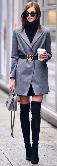 Gucci belt + grey coat