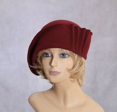 Maddy, Fur Felt Cloche with draped pleats, Maroon colored millinery hat