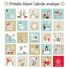 Advent Calendar envelopes Christmas mini envelopes, Advent calendar printable, countdown calendar printable, kid advent calendar, advent - New Ideas Advent Calendar Gifts, Advent Calendars For Kids, Advent Calenders, Christmas Calendar, Countdown Calendar, Diy Calendar, Printable Christmas Cards, Calendar Printable, Printable Art