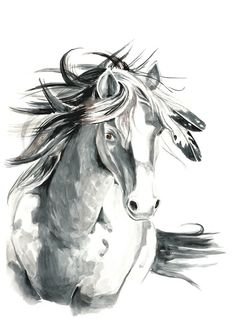 Horse mustang Watercolor art by MundoMeo on Etsy, $14.90