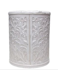 white embossed drum stool side table lifestyle home living