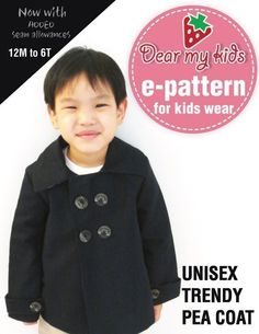 Trendy unisex  pea coat - Double breasted, wrist band( Age 1 to 6) PDF patterns. $6,00, via Etsy.