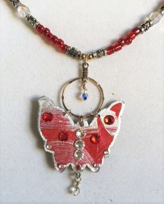 Butterflies in Red and Silver, Necklace,Earrings or Set by MartinArtandBeads on Etsy