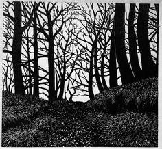 linocut trees | richard shimell