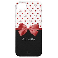 A girly iPhone 5 Barely There Case with cute red hearts and trendy polka dots. Personalize by adding your name. Perfect for a stylish teen girl into fun and fashion!