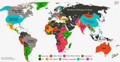 El principal producto de exportación de cada país del mundo | Actividades Economicas