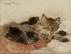 Dozing Cat and her Kittens Henriette Ronner-Knip Private Collection