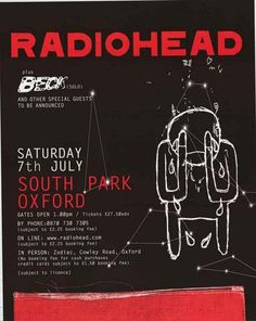An awesome Radiohead poster from their 2001 Amnesiac Tour featuring Beck as supporting act! Ships fast. 24x31 inches. Check out the rest of our amazing selectio