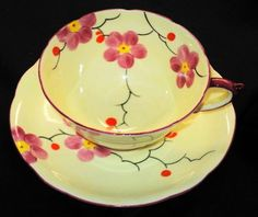 Star PARAGON ONE SET PINK PAINTED FLOWERS CREAM TEA CUP AND SAUCER