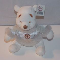 Disney Store Winnie The Pooh Bear Mini Bean Bag Plush Stuffed Animal White #Disney