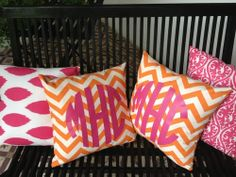 Bright Colored Monogrammed Throw Pillows  Visit & Like our Facebook page: https://www.facebook.com/pages/Rustic-Farmhouse-Decor