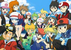Pokemon manga characters: White, Black, Emerald, Ruby, Sapphire, Diamond, Pearl, Platina, Crystal, Gold, Silver, Green, Blue, Red, Yellow, person in back with green hair