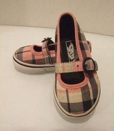 bbfbc298ef Vans Toddler Girls Size 5 Shoes Pink And Grey Plaid With Buckle Mary Janes   fashion