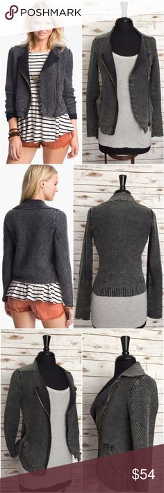 """FREE PEOPLE Warm & Cool Sweater Knit Moto Jacket FREE PEOPLE Warm & Cool Sweater Knit Moto Jacket. A vintage-distressed sweater knit is shaped into a chic silhouette with edgy influences.  Knitted sweater motorcycle jacket. Bottom hem and pocket trim are ribbed. Front zip closure. Front slant pockets.  Imported. Materials: 100% Cotton Care: Hand wash or dry clean.  Excellent condition.  Approximate Measurements / taken on a flat surface. Length: 20"""" (L)  Sleeve: 24"""" (L)  Underarm to…"""