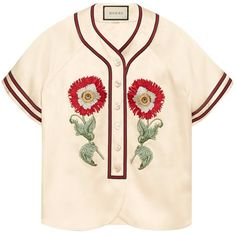 Gucci Embroidered Duchesse Baseball Shirt ($2,490) ❤ liked on Polyvore featuring tops, clothing /, kirna zabete, floral embroidered top, gucci top, baseball shirts, pink floral top and floral baseball shirt