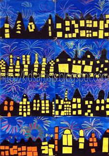 Happy New Year art - city with fireworks