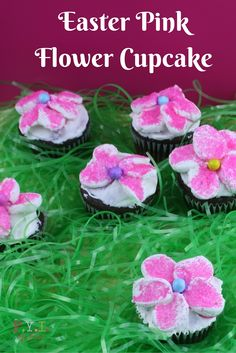 Easter Pink Flower Cupcakes