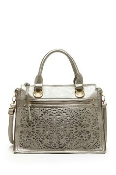 silver purse with cutouts