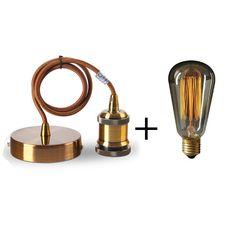 Suspension métal antique E27 + Ampoule Edison filament métallique droit 40W