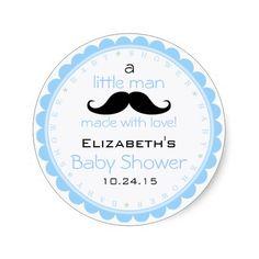 Mustache-Blue Baby Shower Classic Round Sticker