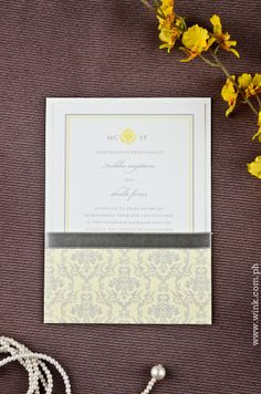 Windsor | Written in Ink Ribbon Wedding, Windsor, Damask, Wedding Invitations, Pouch, Ink, Writing, Classic, Pattern