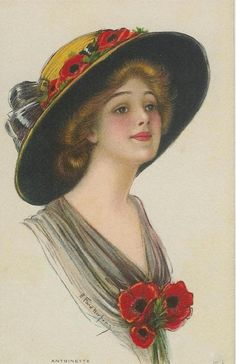 Vintage beautiful woman in a hat postcard with poppies. Vintage Prints, Vintage Art, Vintage Woman, Images Victoriennes, Gibson Girl, Victorian Women, Vintage Ephemera, Girl With Hat, Red Poppies