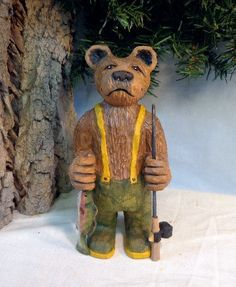 Fishing Bear hand carved gift for men by WeAreOutofOurGourds, $85.00