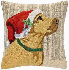 Dogs and Christmas! Two of our favorite design subjects! Discover our huge collection of festive dog yellow lab designs for the holidays on hooked pillows