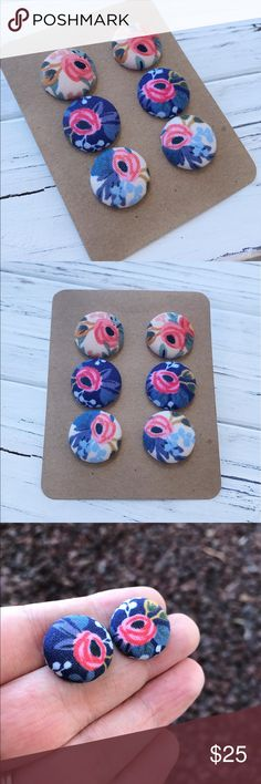 "Rifle Paper Co fabric button earrings Set of 3 button earrings. Handmade by me using gorgeous Rifle Paper Co. fabric! Earrings are studs and are nickel & lead free. Each pair will come with soft clear rubber stoppers for extra comfort. Measures 3/4"" around. You will get all 3 pairs as pictured! Colors are: Rosa peach, Rosa navy and Rosa periwinkle. Handmade by me & brand new. Bundle & save 15% on 3+ items🌸🍃🌷Tags: floral, flowers, shabby chic, summer, spring, fall, winter, boho Rifle Paper…"