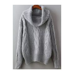 Grey High Neck Cable Knit Sweater ($22) ❤ liked on Polyvore featuring tops, sweaters, turtle neck sweater, pullover sweater, grey turtleneck sweater, grey sweater y acrylic sweater