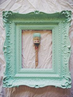 Vintage frame painted in a custom mix of Annie Sloan Old White & Florence. By Junk Love and Co.