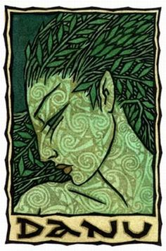 Danu is the mother of the Irish gods, linked to the goddess Dôn in Wales. Her tribe is the Tuatha Dé Danann, the People of the Goddess Danu or Ana. Invading Ireland on the first of May, the Tuatha Dé Danann battled the Fir Bolg, and eventually won an uneasy peace. In their turn the Tuatha Dé Danann were displaced by the mortal Milesians, and retreated to the sídhe, or hollow hills, to become the Faery Folk of legends.  § illustration: Danu by Thalia Took