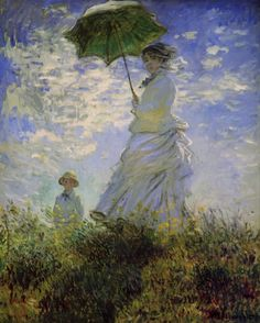 Woman With a Parasol-Madame Monet and Her Son, by Claude #Monet. This belongs to a series of paintings which Monet produced during the summers of 1875 and 1876. On VintPrint.com as a #poster. #claudemonet #portrait #impressionism #fineart