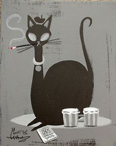 Cats in Art and Illustration: vintage beatnik cat illustration - Yahoo Canada Image Search Results (please follow minkshmink on pinterest)