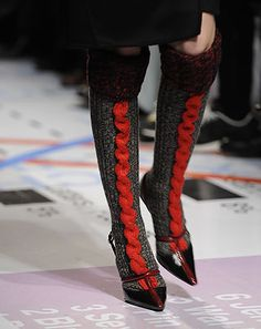 red cable socks by Prada, 2010
