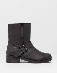:LEATHER ANKLE BOOTS WITH ZIPS