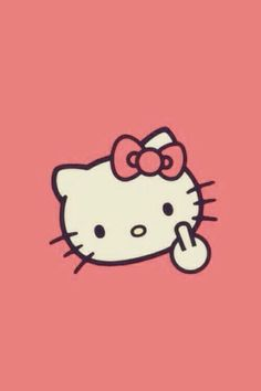 Hello kitty // Middle finger in the air