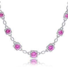 Miadora Sterling Silver Created Pink Sapphire and Diamond Accent... ($133) ❤…
