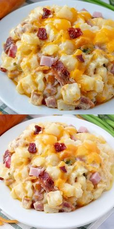 Ham & Bacon Cheesy Potatoes The Perfect Cheesy Side Dish! is part of Potatoes - Hearty, creamy and flavorful these Cheesy Potatoes are filled with bits of ham, crumbled bacon, loads of cheese and is bursting with flavor in each and every bite Brunch Recipes, Easy Dinner Recipes, Brunch Food, Supper Recipes, Brunch Ideas, Crockpot Recipes, Healthy Recipes, Healthy Soup, Easy Food Recipes