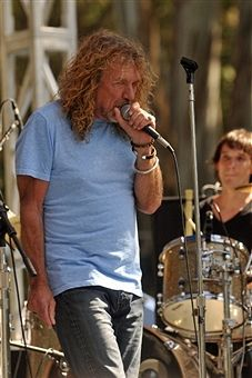Robert Plant and Cody Dickinson performing with 'The Band of Joy' at the Hardly Strictly Bluegrass festival in Golden Gate Park in San Francisco, on October 2, 2011.