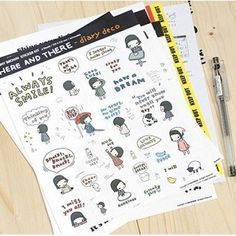 (Genuine)KOREA PONYBROWN Here and there Sticker Set - X 6 sheets