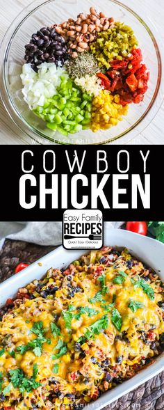 Cowboy Chicken has many wholesome ingredients including beans, black eyed peas, onions, green pepper, corn, and more! This low calorie gluten free dinner recipe is a keeper! #easyfamilyrecipes #glutenfree #ww
