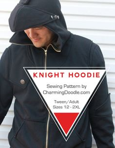 Knight Hoodie Tween and Adult Sizes PDF Sewing by CharmingDoodle Sewing For Kids, Baby Sewing, Sewing Diy, Knight Hoodie, Hoodie Pattern, Easy Sewing Projects, Sewing Ideas, Pdf Sewing Patterns, Country Guys