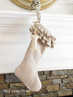 Dog Linen Christmas Stocking  Ruffle Top by RedDoorHome on Etsy