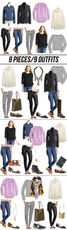 My Capsule Wardrobe ~ 9 Pieces ~ 9 Outfit Fall 2014 Capsule Outfits, Fashion Capsule, Mode Outfits, Capsule Wardrobe, Fashion Outfits, Womens Fashion, Fall Winter Outfits, Autumn Winter Fashion, Build A Wardrobe