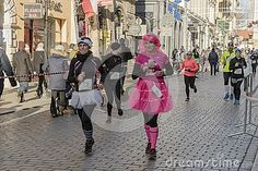 New year`s Eve race in  2016 year in Krakow.  The people running dressed in funny costumes.