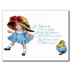 Meisje in Bonnet & Blauwe Kleding Vintage Pasen Wens Kaarten