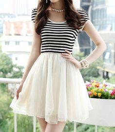 Refreshing Splicing Voile High Waist Stripe Cotton Blend Dress