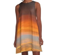 Sunset ?canvas A-Line Dress  by Scar Design #summerclothing #summervacationsdress #beachdress #beach #summerfashion #giftsforher #gifts #giftsforteens #summergifts #womensfashion #hipster #colorful #style #swag #sunset #sunsetdress #dress #summerdress #su